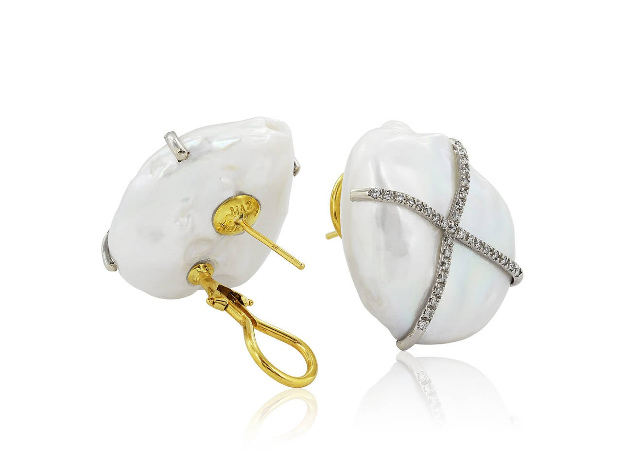 18 Karat Yellow Gold Earrings Consisting Of 2 Fresh Water Pearls Set With Full Cut Diamonds Weighing A Total  Of .33 Carats. Diamonds Are Set In An X Design.