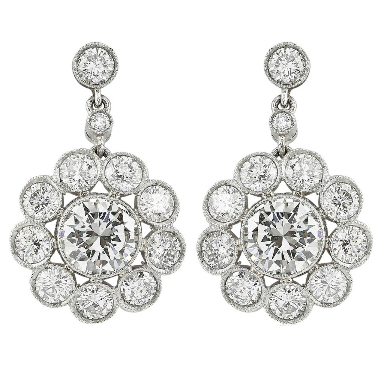 5.03 Carat Diamond Cluster Earrings