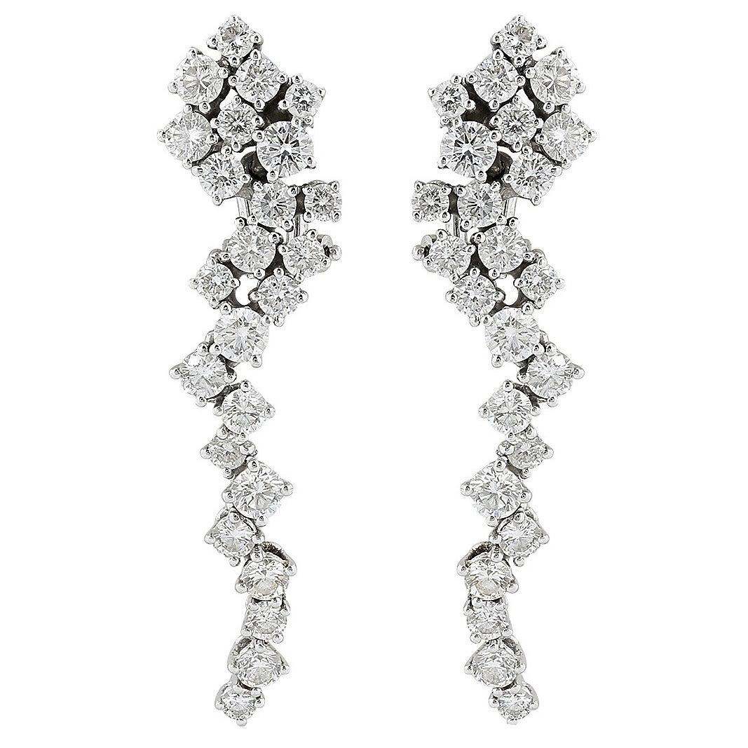 2.50 Carat Diamond Gold Drop Earrings 1