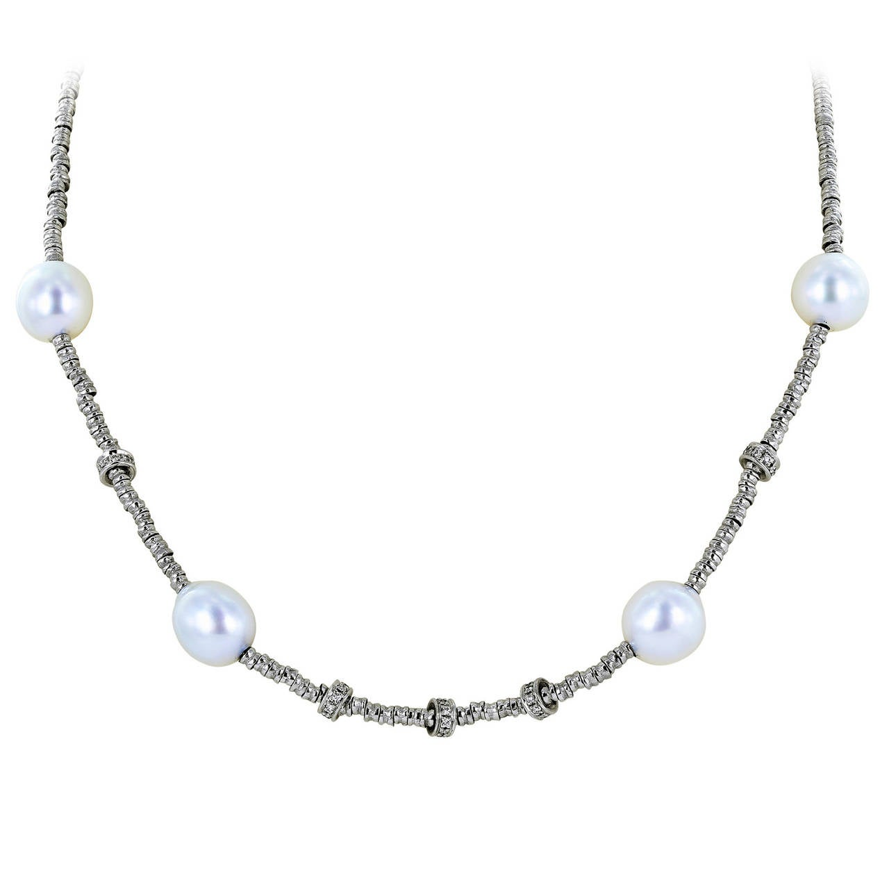 Diamond Pearl Gold Chain Necklace