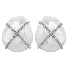 Fresh Water Pearl and Diamond Earrings