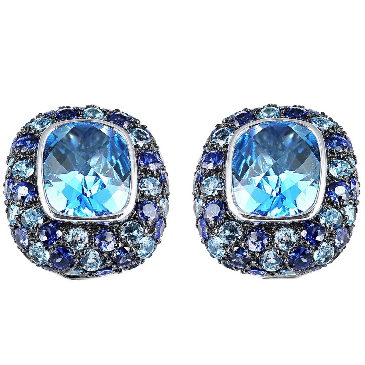 Blue Topaz and Sapphire Clip Earrings