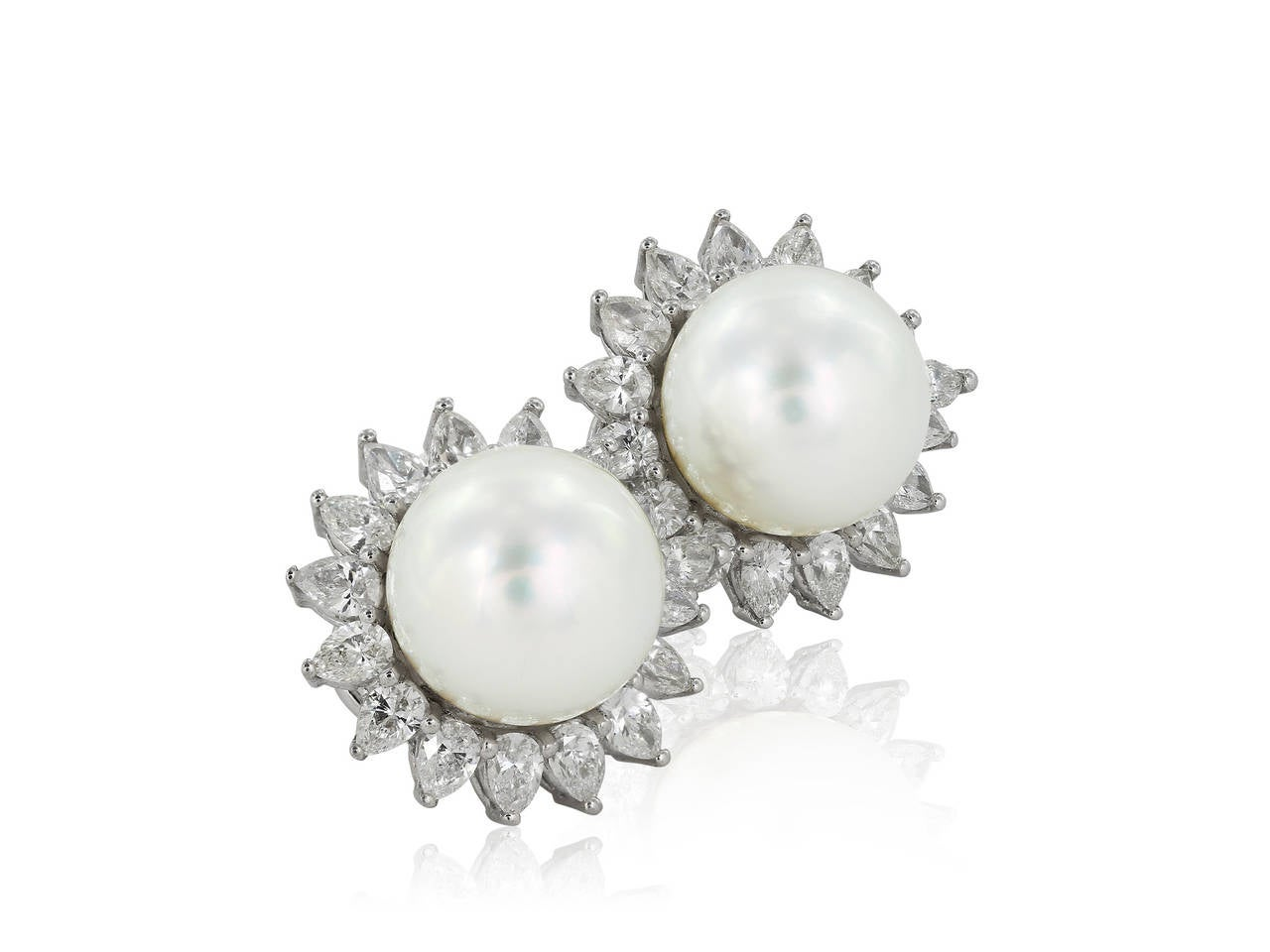 Contemporary South Sea Pearl Diamond Gold Earrings For Sale