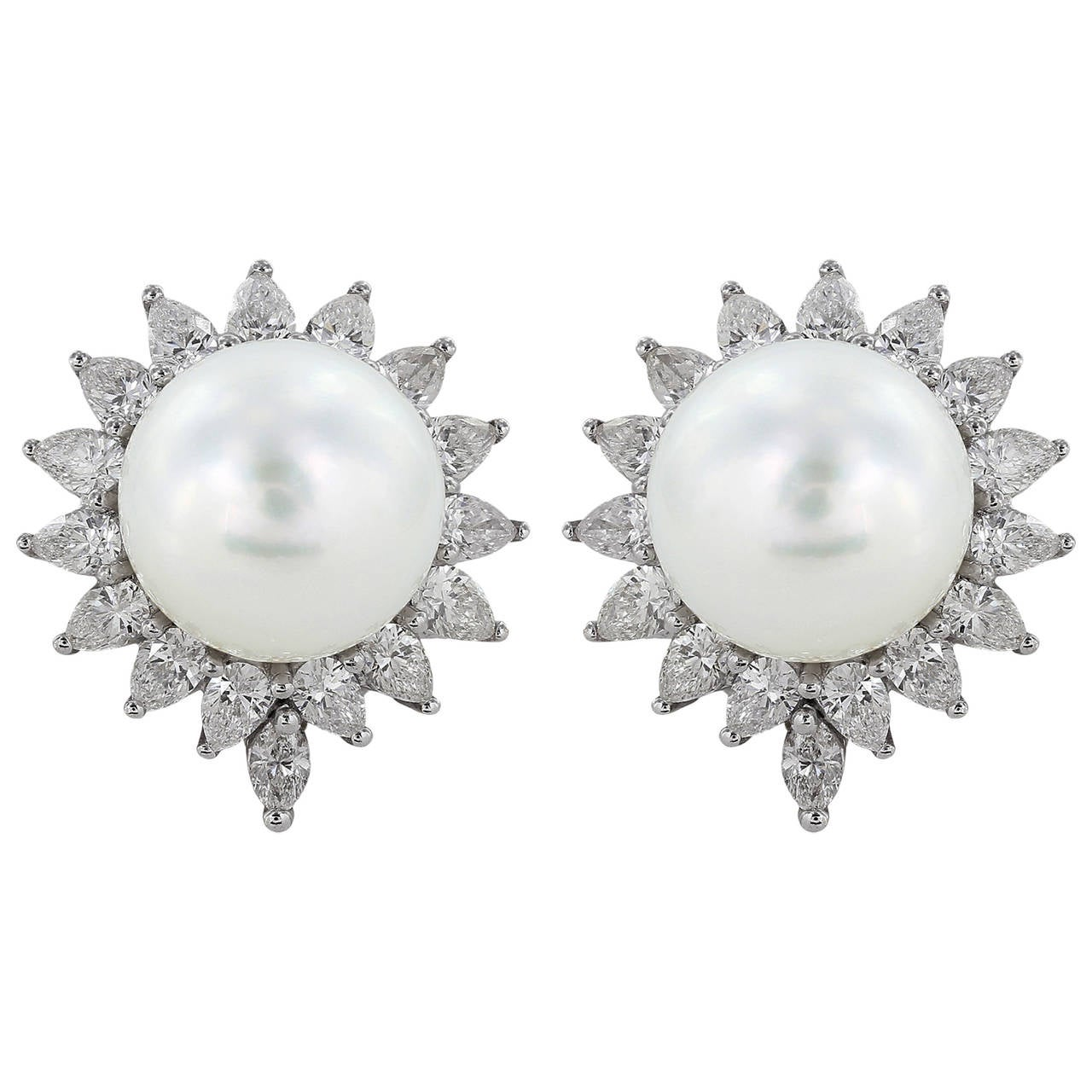 South Sea Pearl Diamond Gold Earrings For Sale