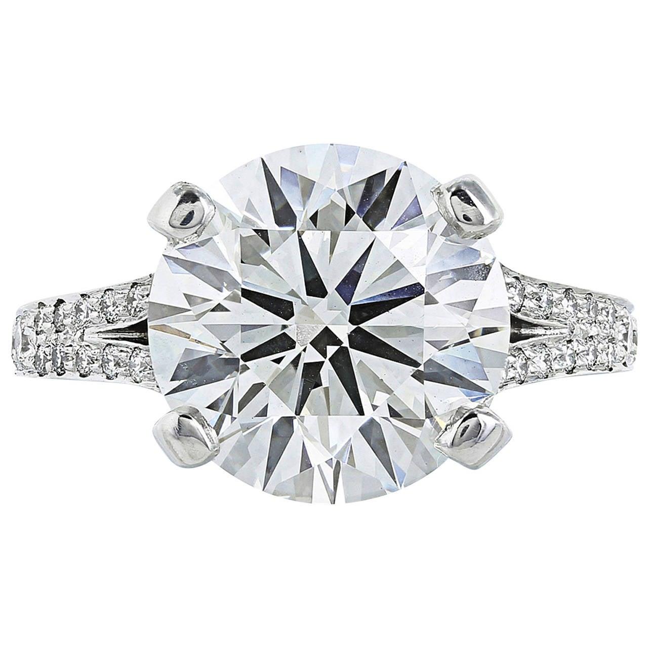 5.06 Carat GIA Certified J SI1 Brilliant Cut Diamond Platinum Solitaire Ring