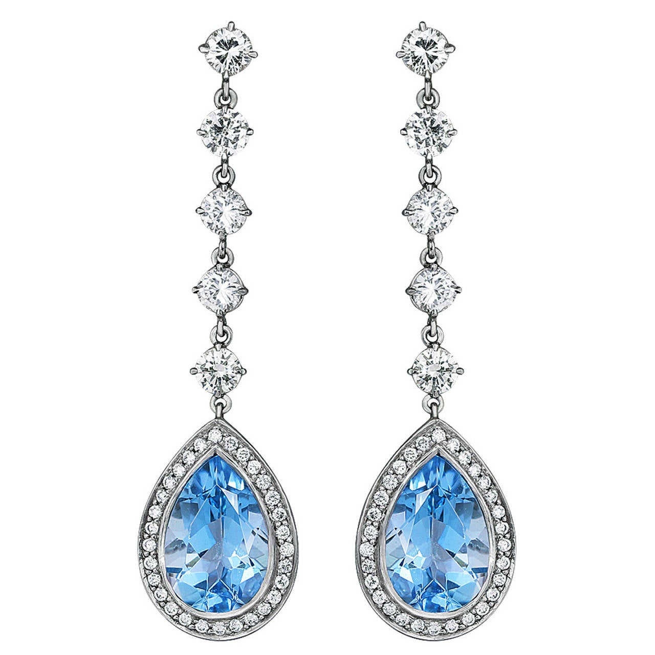 5.03 Carat Aquamarine Diamond Platinum Dangle Earrings For Sale