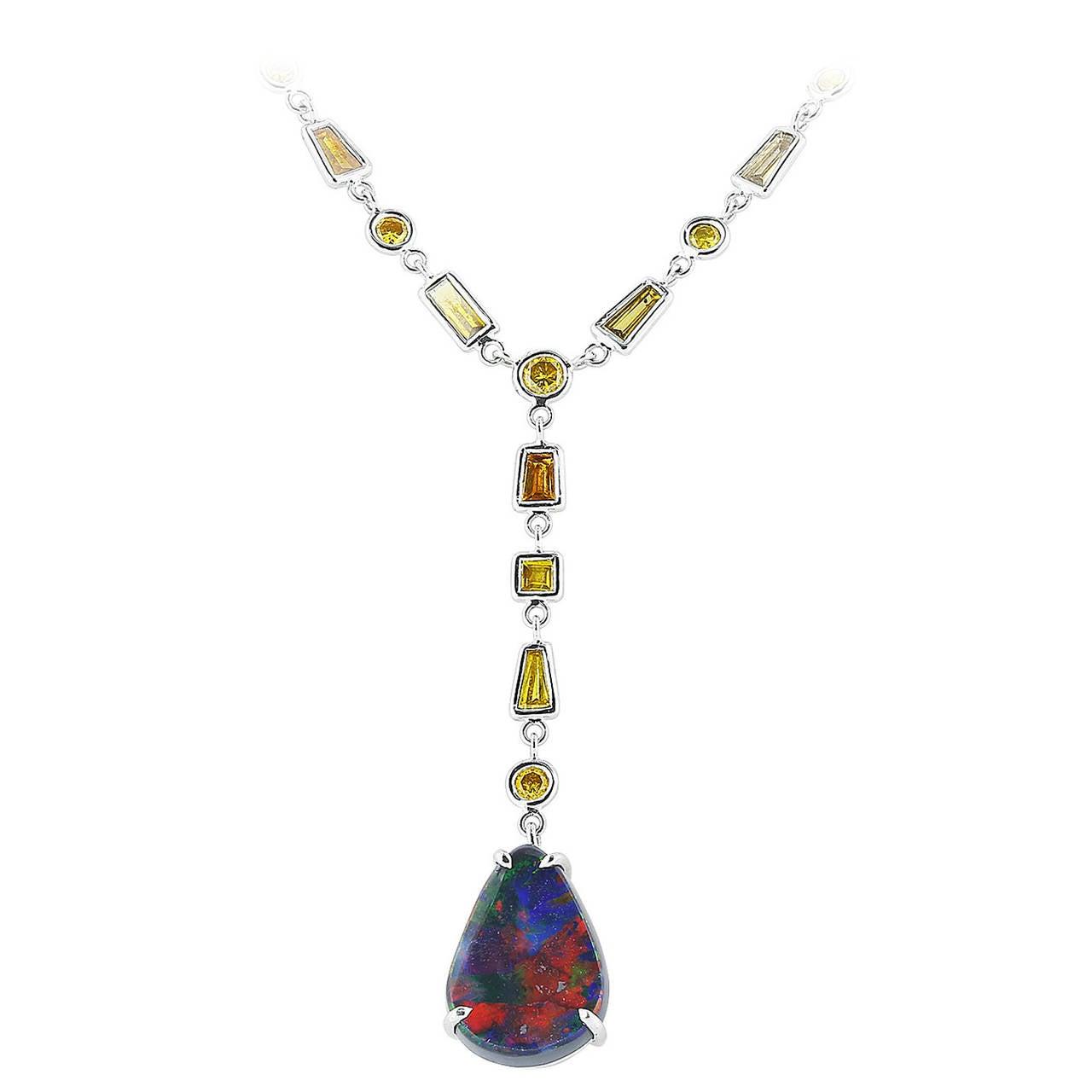 Pear Shape Opal Pendant For Sale