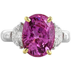 6.22 Carat Pink Sapphire and Diamond Ring