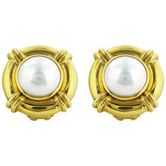 Mabe Pearl and Gold Earrings