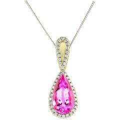 4.06 Carat Pink Topaz, Diamond and Gold Pendant