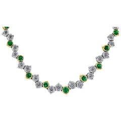 5.78 carat Emerald Diamond Riviera Necklace