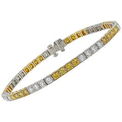 Oscar Heyman 3.46 Carat Yellow and White Diamond Bracelet
