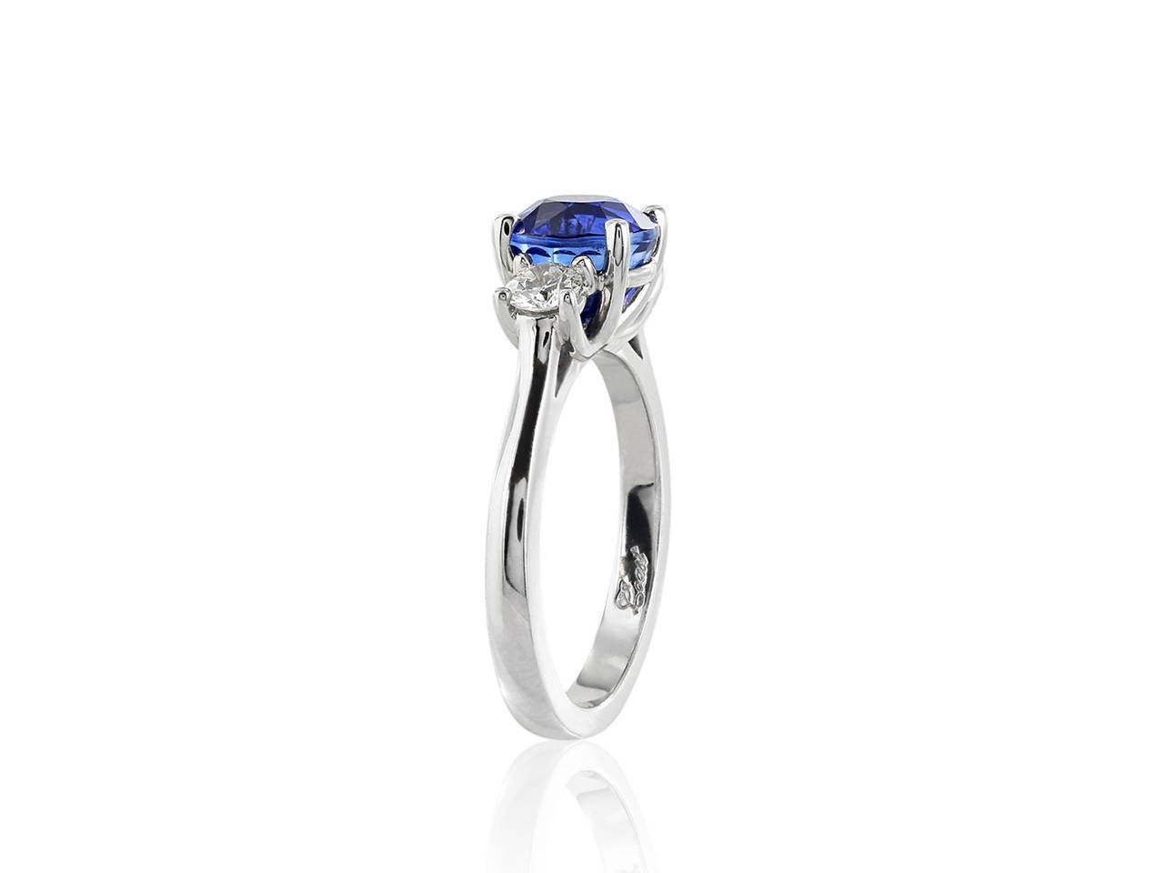 Contemporary 3.01 Carat Sapphire Diamond Gold Engagement Ring For Sale