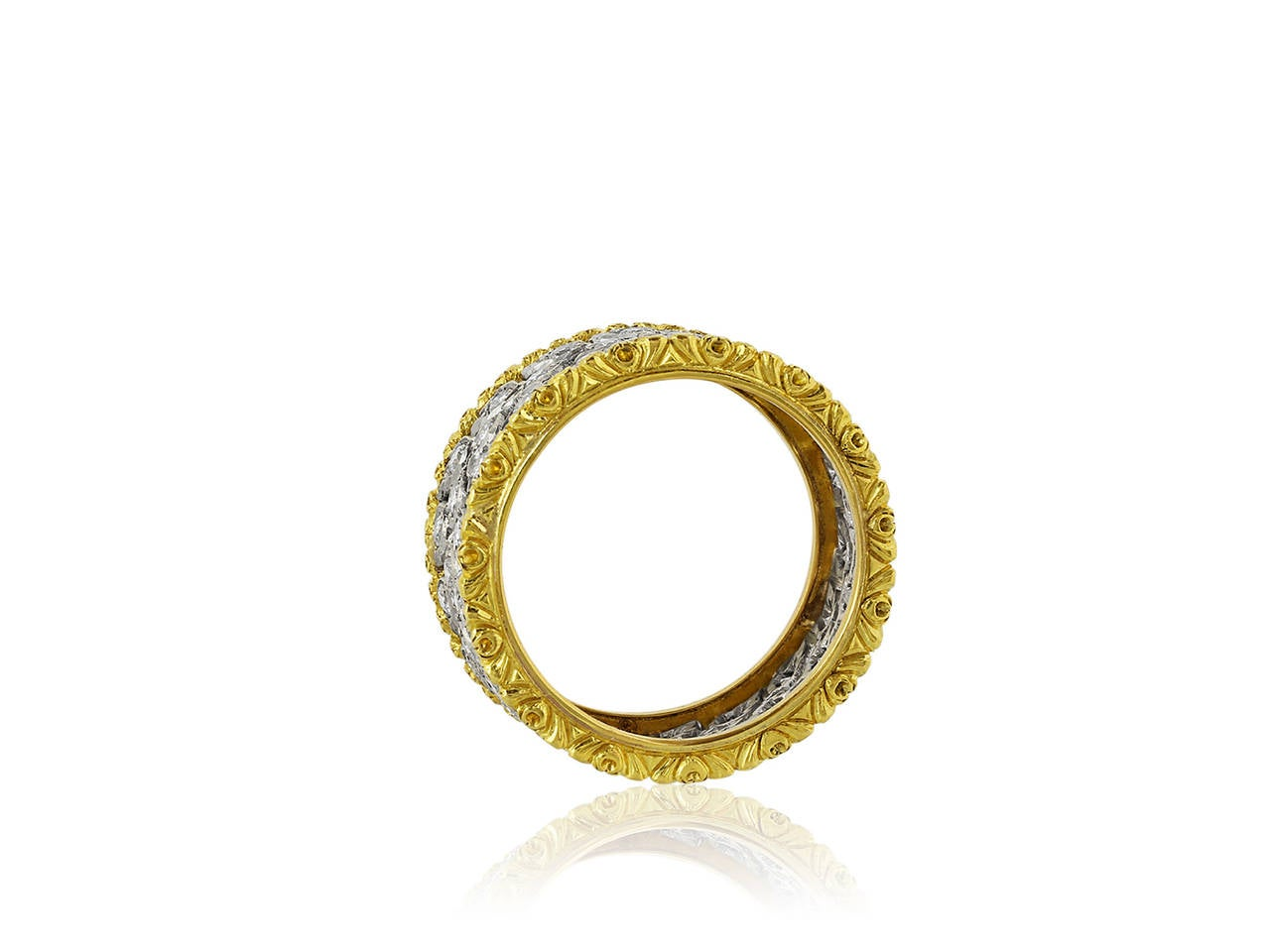 Contemporary Buccellati Milano Diamond Gold Band Ring For Sale