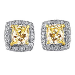 2.50 Carat Radiant Cut Canary Diamond Earrings