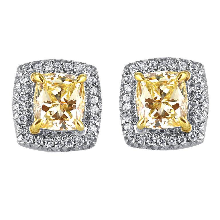 2.50 Carat Radiant Cut Canary Diamond Earrings