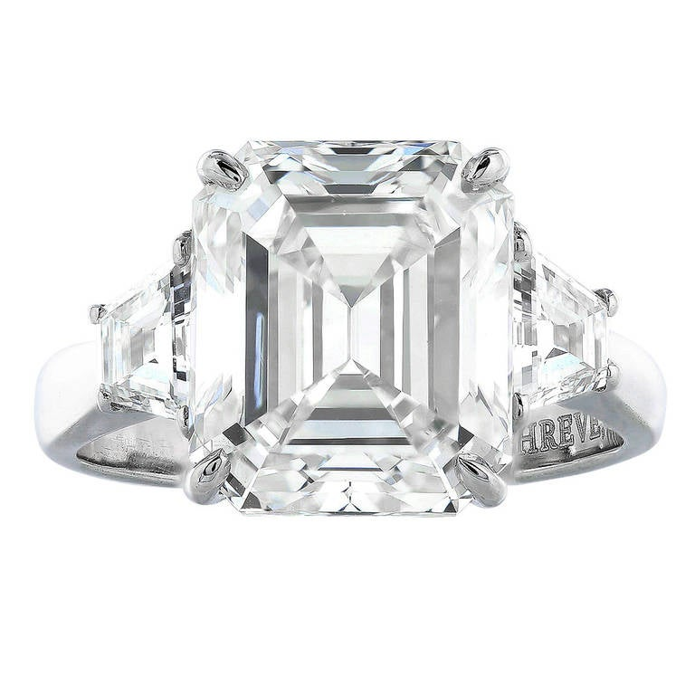 5 90 Carat Emerald Cut Diamond Three Stone Ring at 1stdibs