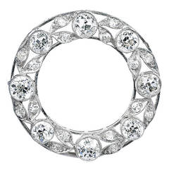 Edwardian Diamond Platinum Wreath Circle Brooch