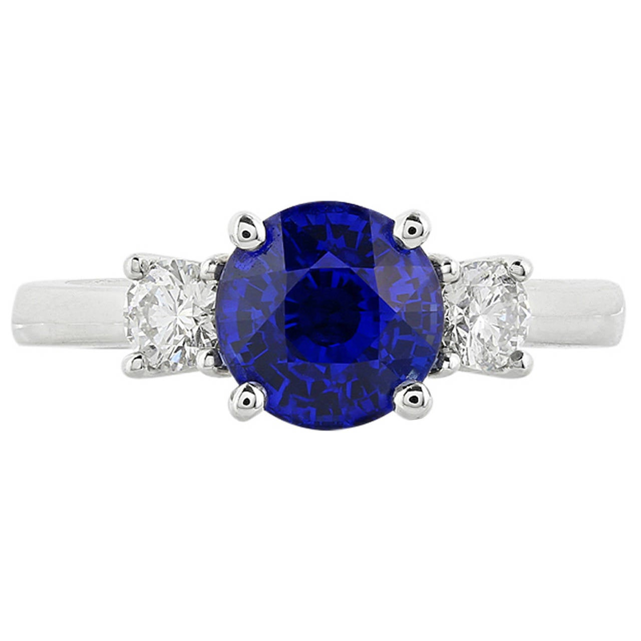 3.01 Carat Sapphire Diamond Gold Engagement Ring For Sale