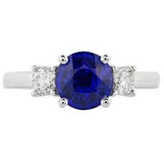 3.01 Carat Sapphire Diamond Gold Engagement Ring