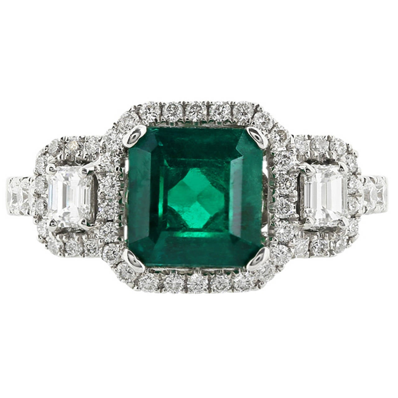 1 63 carat emerald gold three ring for sale