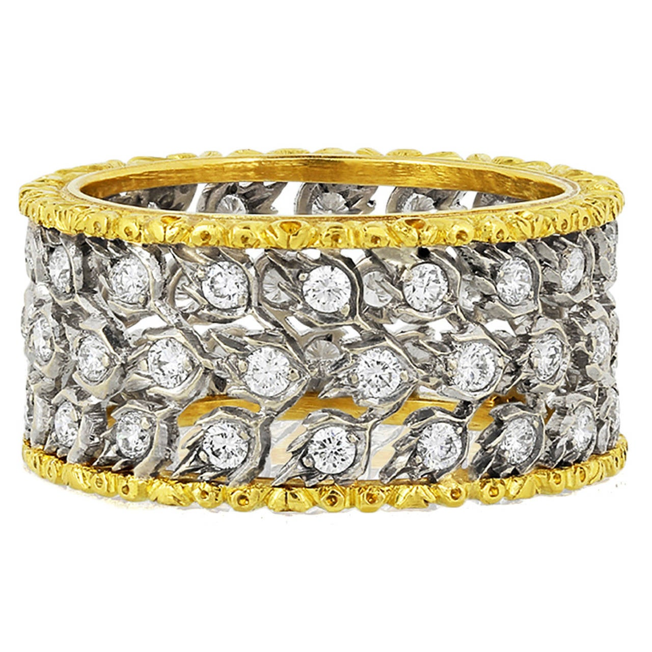 Buccellati Milano Diamond Gold Band Ring For Sale