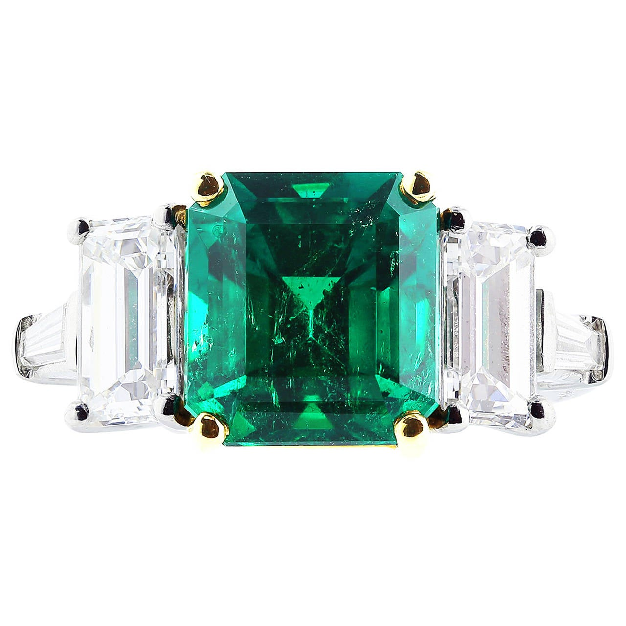 4.24 Carats Colombian Emeralds Diamond Platinum Ring 1
