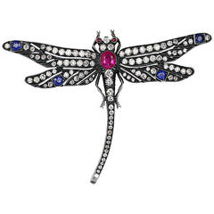 Multi-Gem Dragonfly Pin