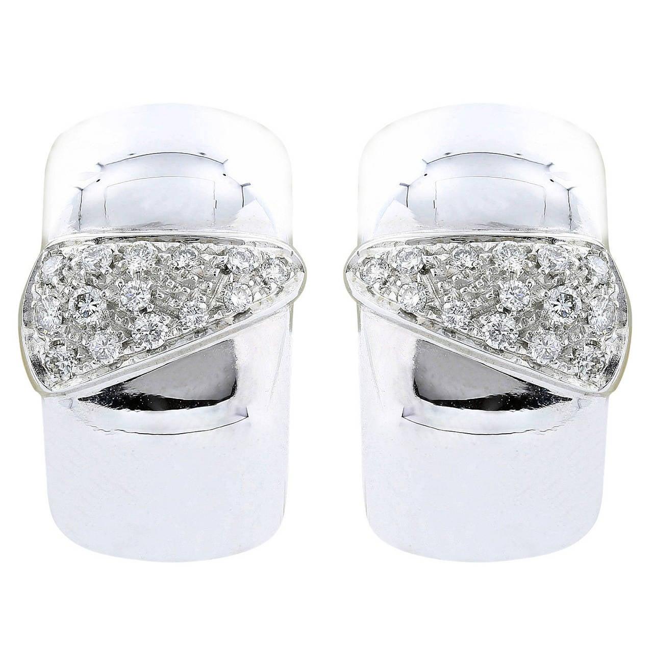 Diamond White Gold Hoop Earrings