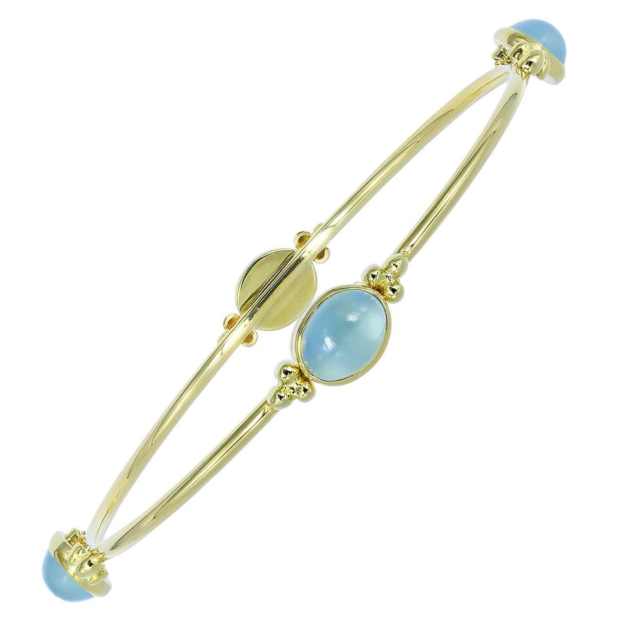 Aquamarine and Gold Bangle Bracelet