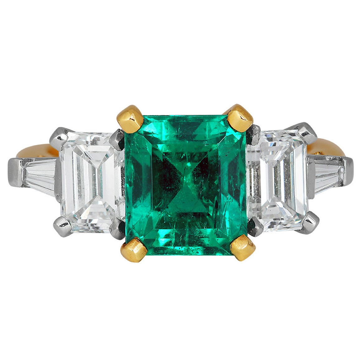 2.44 Carat Emerald Diamond Platinum Ring