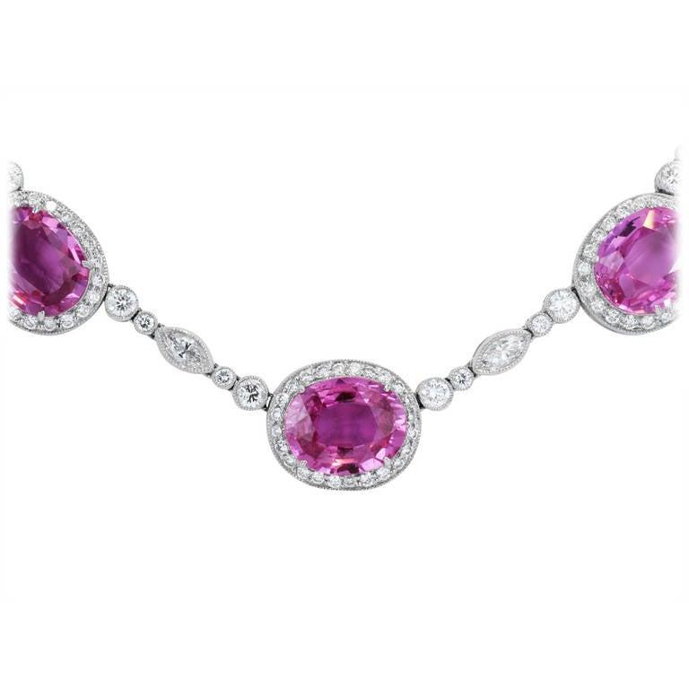 34.62 Carat Pink Sapphire Diamond Necklace