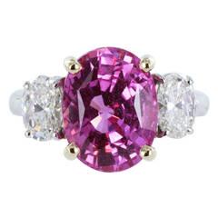 6.22 Carat Oval Shaped Pink Sapphire Diamond Ring