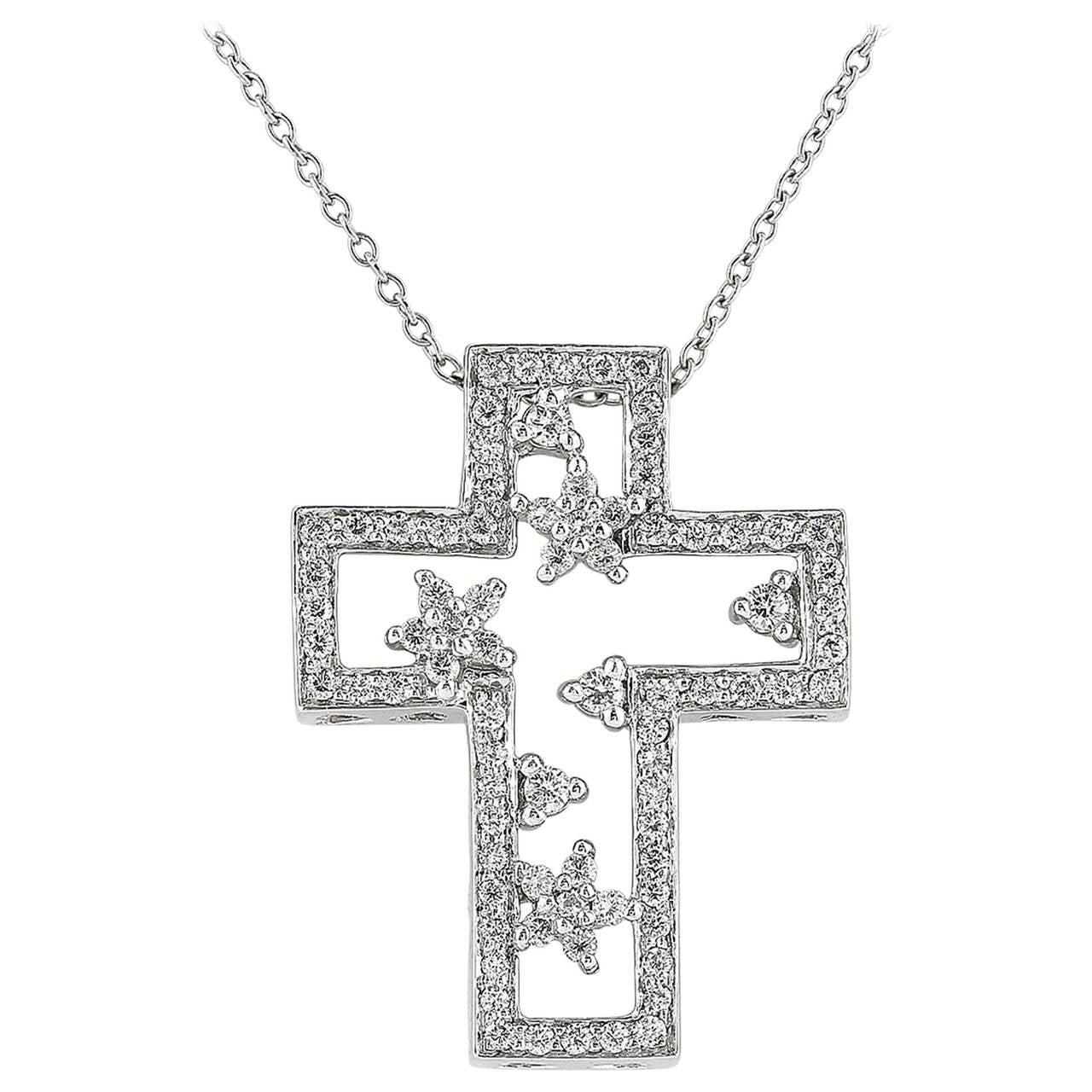 .50 Carat Diamond Platinum Cross Pendant