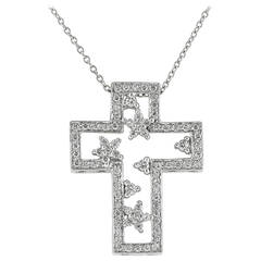 .50 Carat Diamond Platinum Cross Pendant