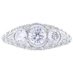 2.00 Carat Round Brilliant Cut 3 Stone diamond Platinum Ring