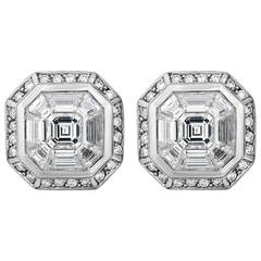2.24 Carat Square and Baguette Diamond Gold Earrings