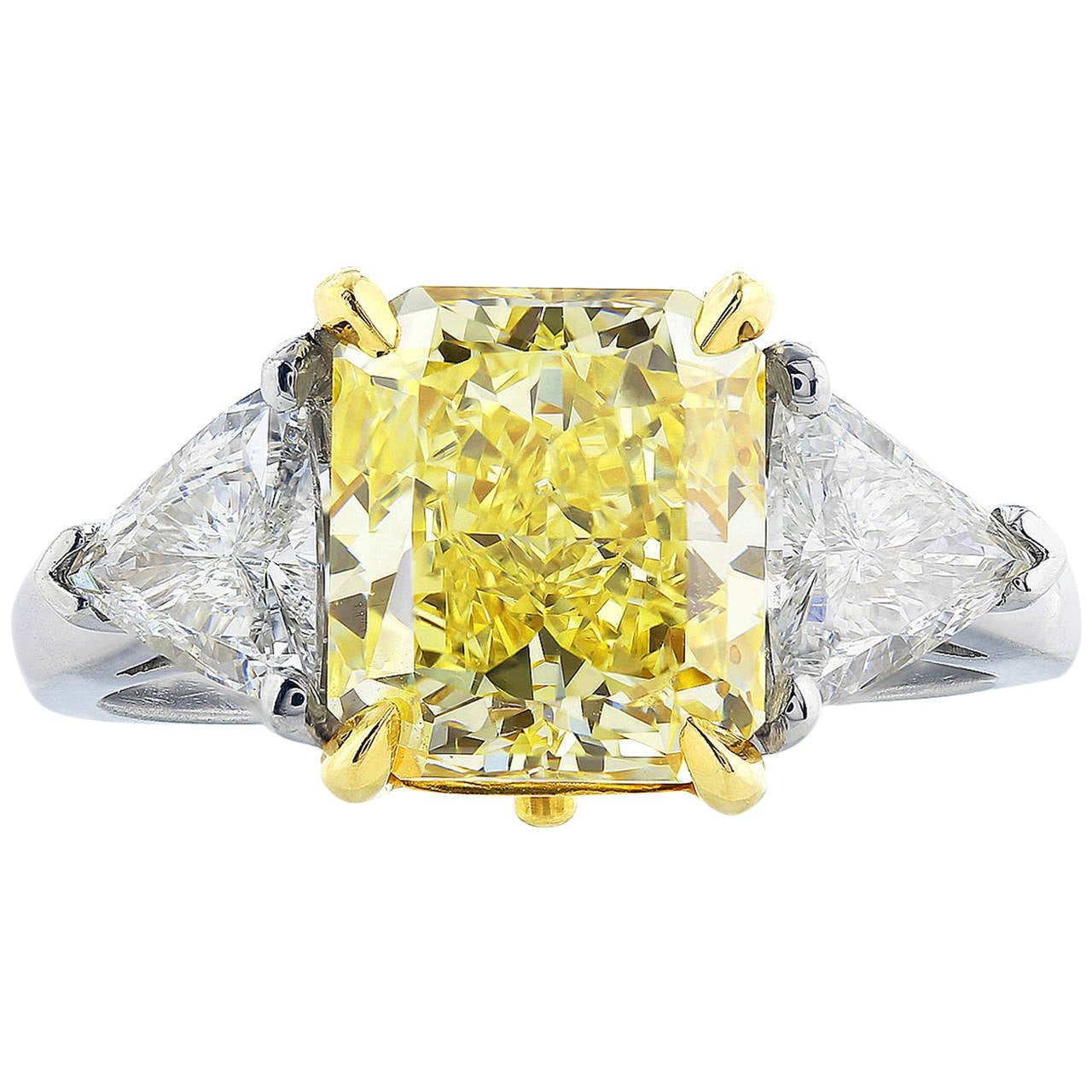 3.01 Carat Radiant Fancy Yellow Diamond Ring