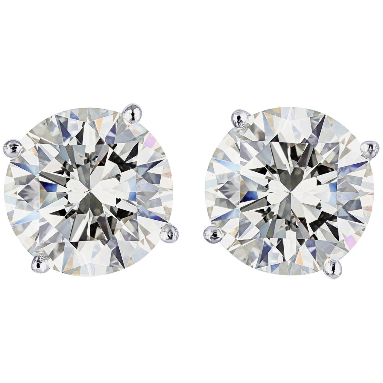 4.57 Carat GIA Cert Round Brilliant Diamond Gold Stud Earrings For Sale