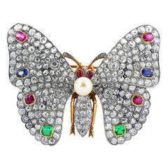 Multi-Gem Edwardian Butterfly Pin