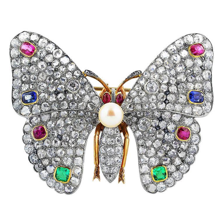 Multi-Gem Edwardian Butterfly Pin