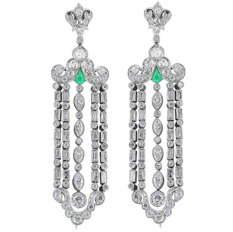 Art Deco Emerald Diamond gold platinum Chandelier Earrings