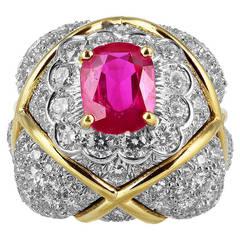 David Webb No Heat Burma Ruby Diamond Gold Ring