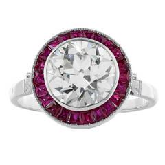 2.53 Carat Old European Cut Diamond Engagement Platinum Ring