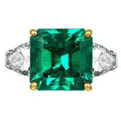 5.72 Carat Colombian Emerald Diamond Platinum Ring