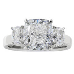 4.02 Carat GIA Certified Cushion Cut Diamond Three-Stone Platinum Ring