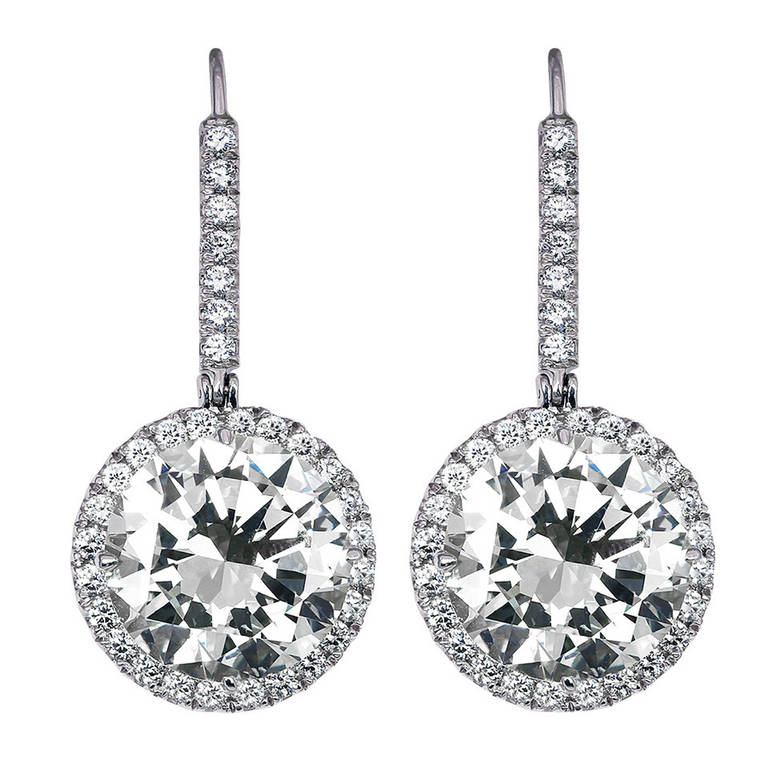 14.35 Carat Round Brilliant Diamond Platinum Drop Earrings