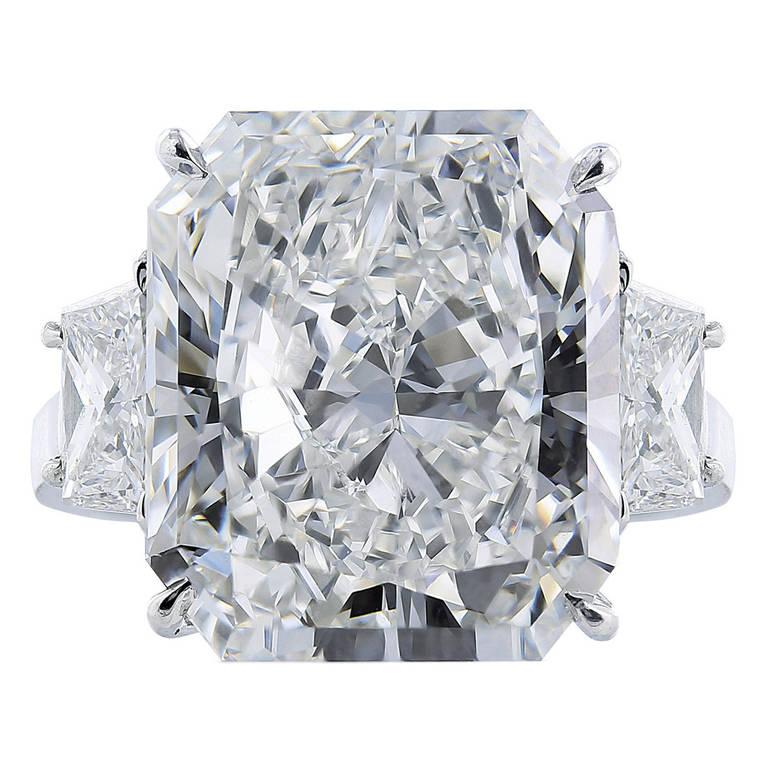 11.29 Carat Radiant Cut GIA Cert Diamond Platinum Engagement  Ring