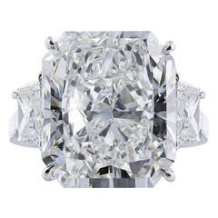 11.29 Carat Radiant Cut GIA Cert Diamond Platinum Ring