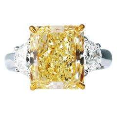 5.87 Carat Radiant Cut Canary Diamond Platinum Ring